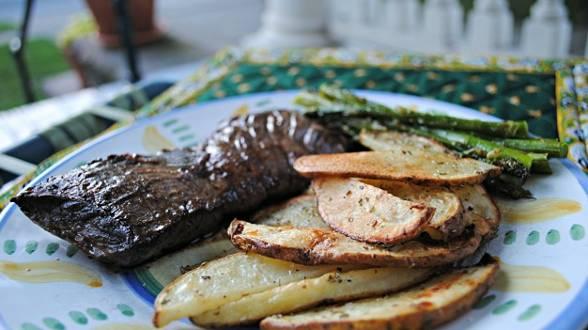 Steak Au Poivre with Herbs de Provence Oven Fries