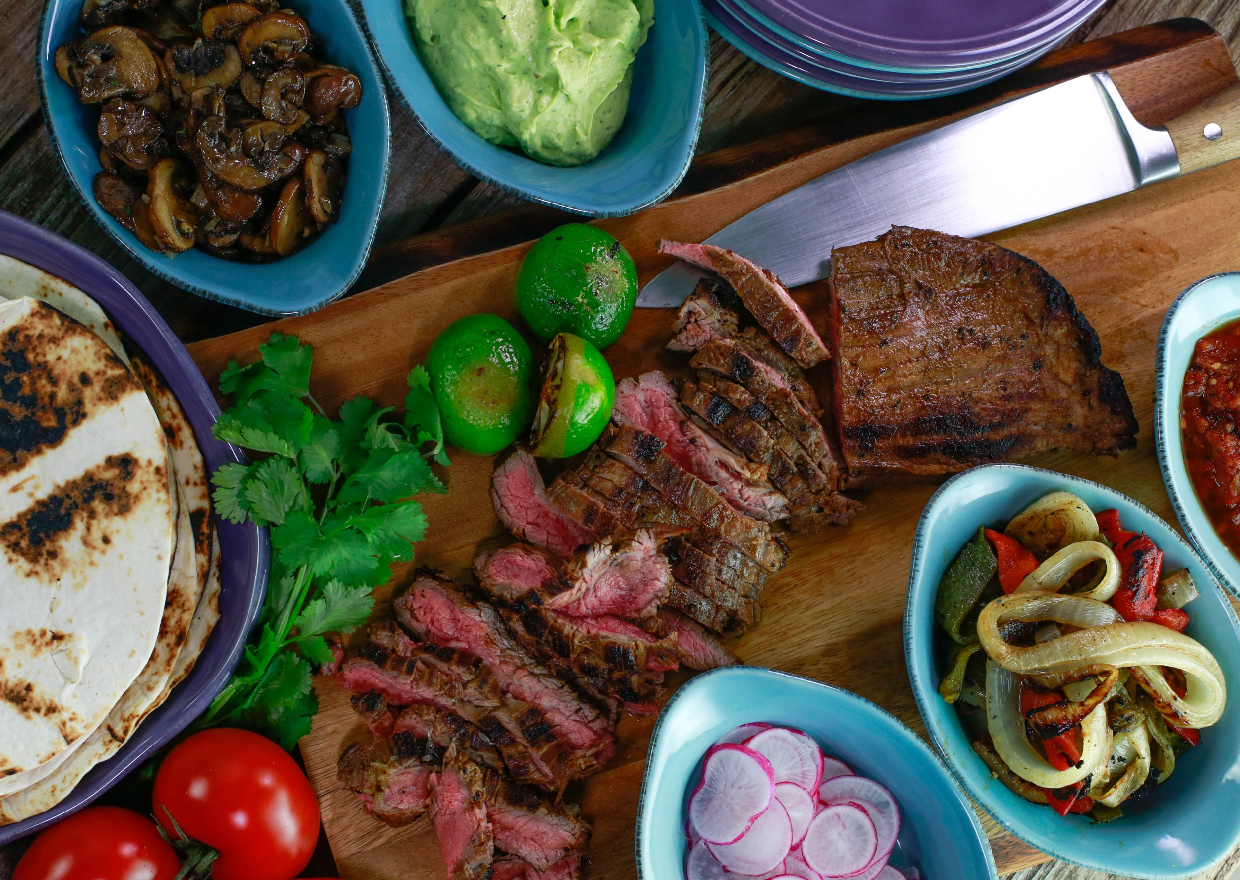 Steak Fajitas with Roasted Peppers, Onions, Sherry Mushrooms & Charred Tomato Sauce