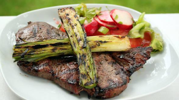 Steaks with Grilled Leeks and Celery-Radish Salad