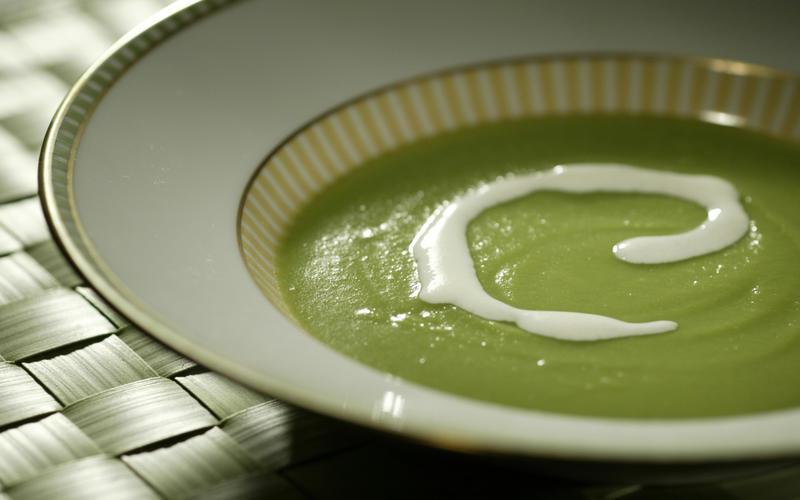 Sugar snap pea soup with Parmesan cream