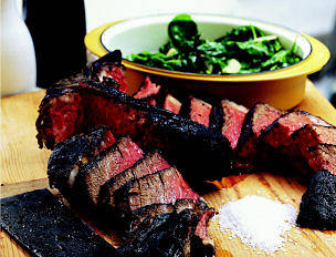 T-Bone Fiorentina with Sautéed Spinach