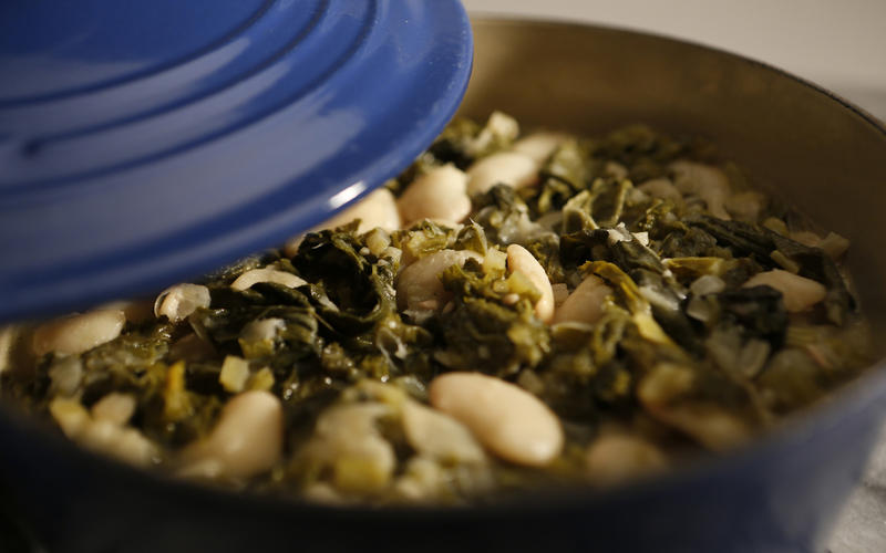 The Village Idiot's beans and bitter greens