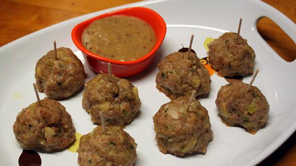 Turkey and Bacon Meatballs with Maple-Dijon Gravy