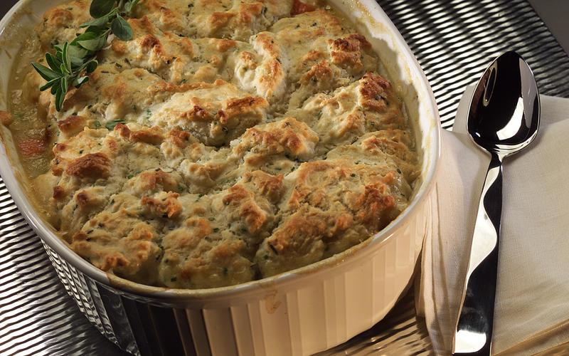Turkey pot pie with biscuit crust