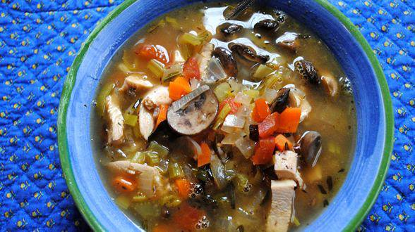 Turkey Soup with Mushrooms, Sherry and Rice Pilaf