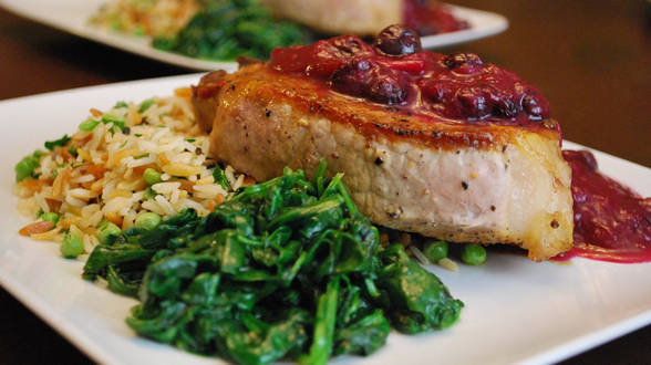 "TV Dinner: Chicken or Chops with ""Blubarb"" Sauce, Rice with Peas and Wilted Spinach"