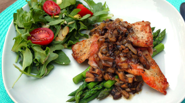 Veal Saltimbocca with Marsala Mushrooms and Asparagus