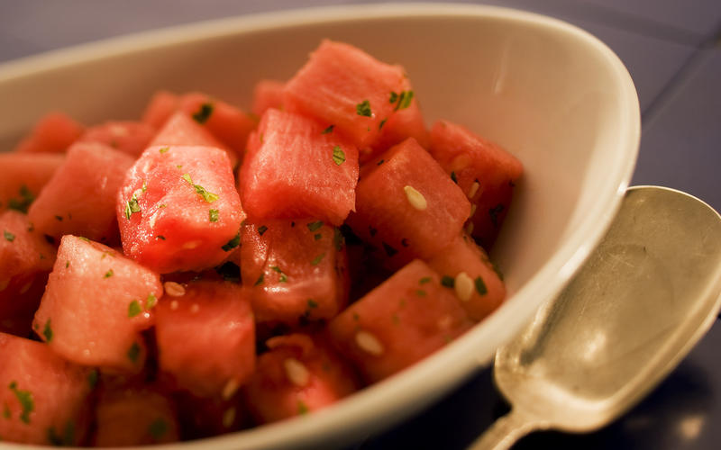 Watermelon with mint and lime