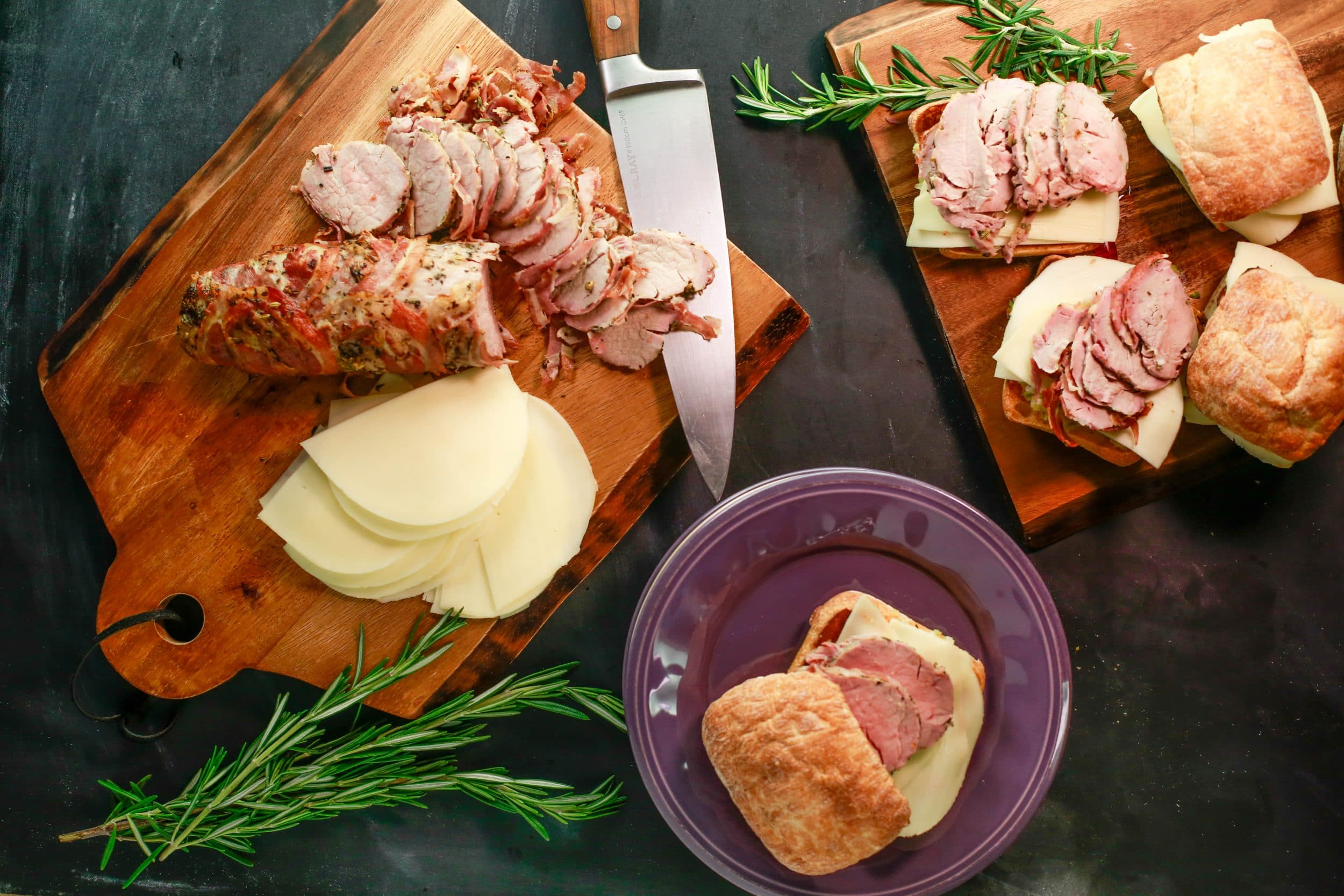 Weeknight Porchetta Tenderloin on Ciabatta, Muffaletta-Style