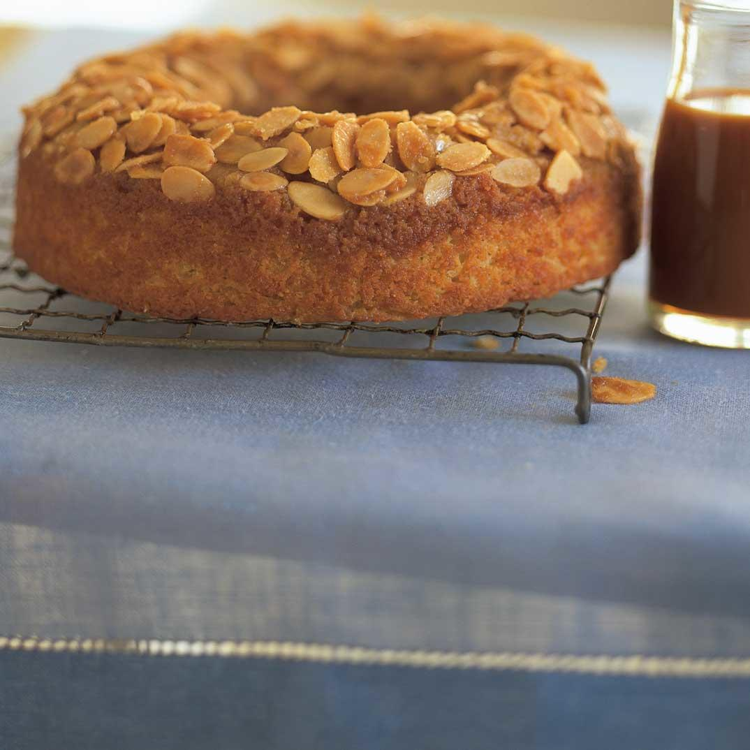 Apple Upside Down Cake with Caramel Sauce