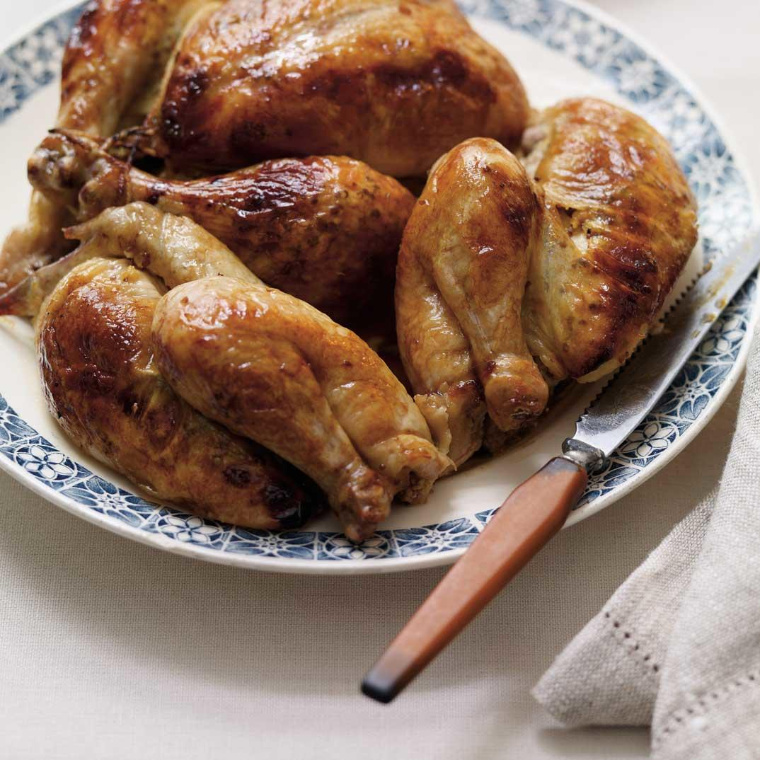 Apricot-Mustard Roasted Cornish Hens