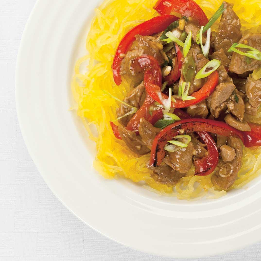 Asian-Style Pork Stir-Fry on Spaghetti Squash