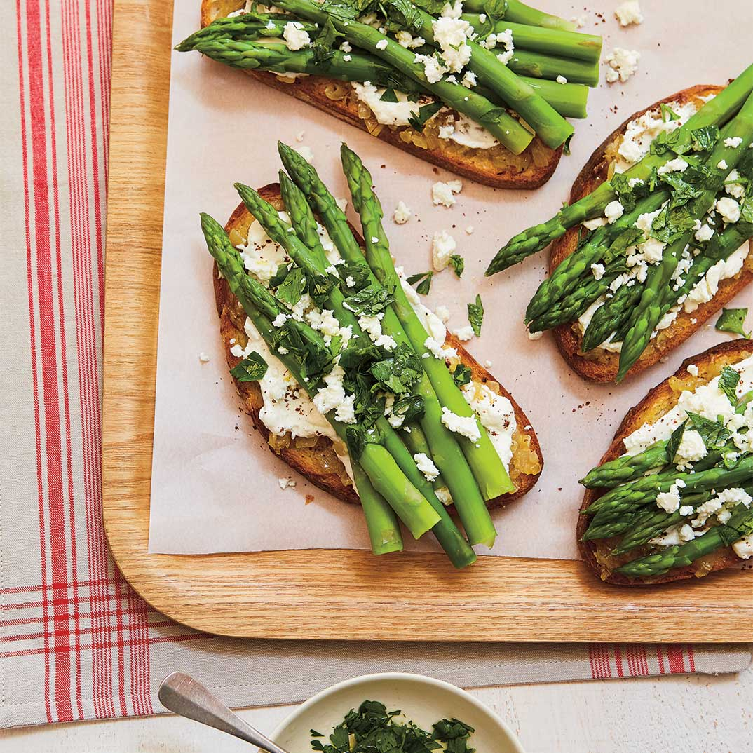 Asparagus, Onion and Feta Toasts