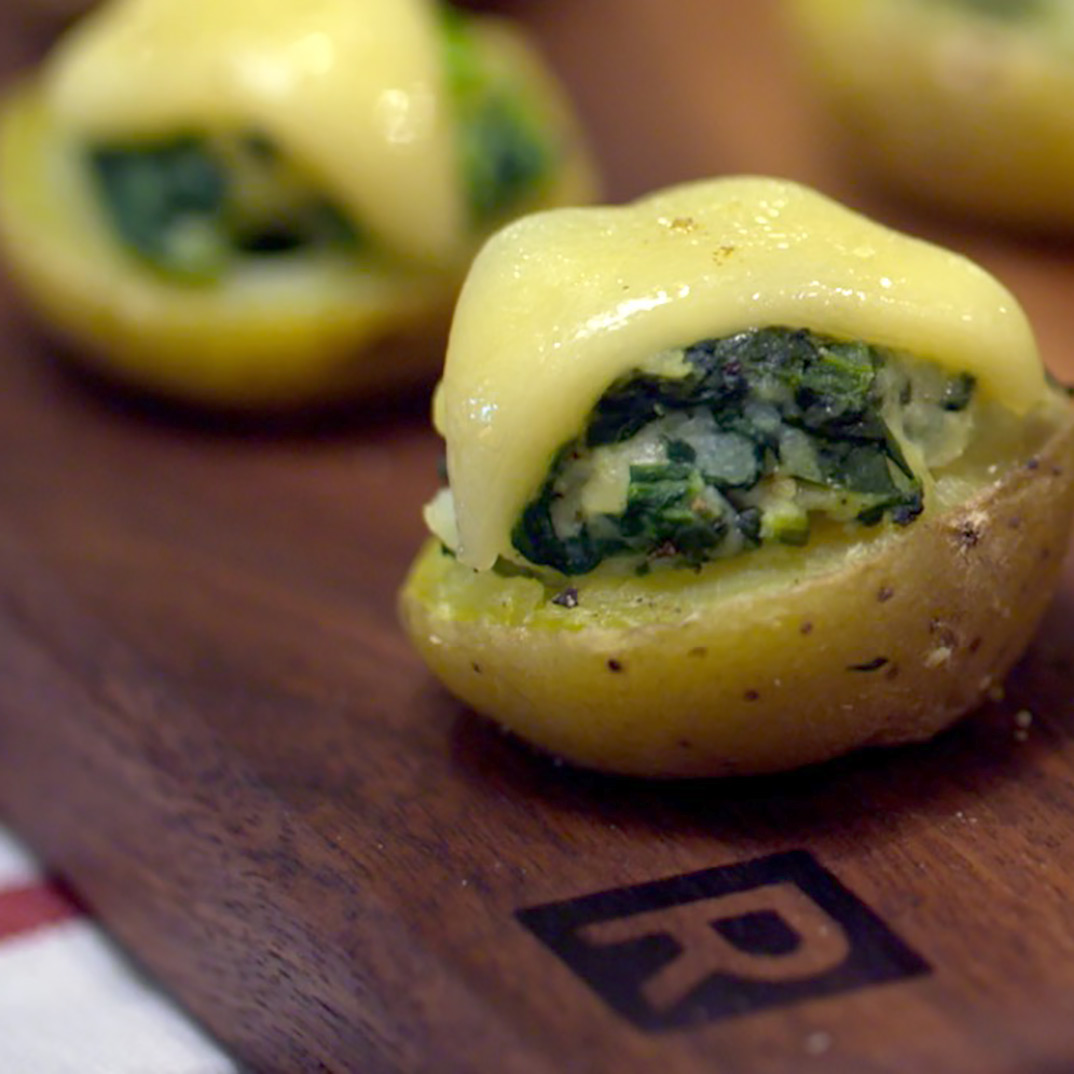 Baby Potatoes Stuffed with Spinach and Emmental