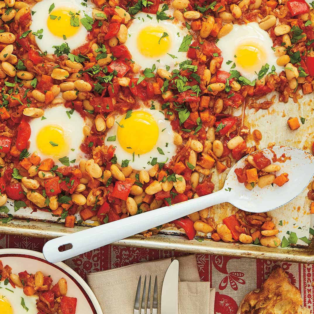 Bacon, Beans and Egg Sheet-Pan Breakfast