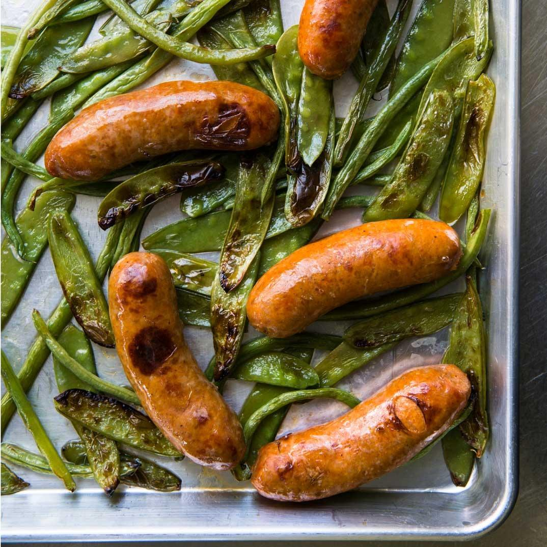 Baked Sausage with Green Beans