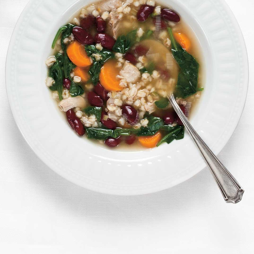 Barley, Red Bean, and Spinach Soup