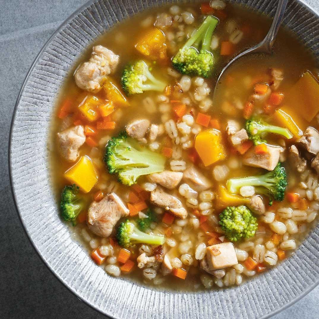 Barley, Squash and Broccoli Soup