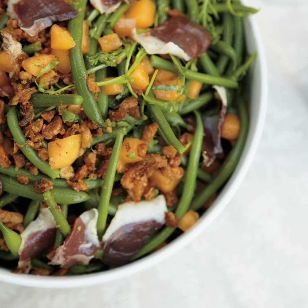 Bean Salad with Melon and Smoked Duck