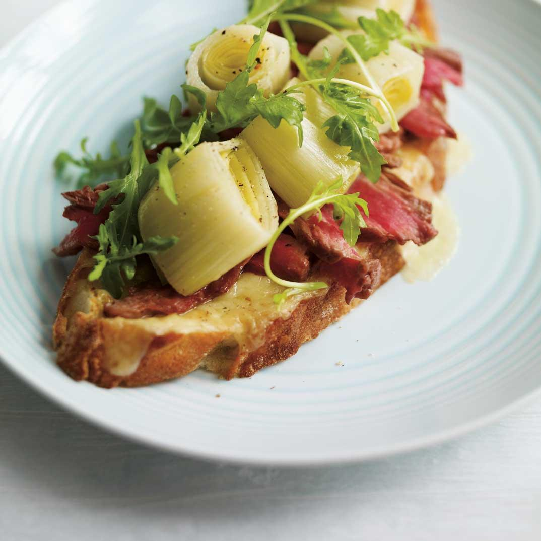 Beef and Leek Confit Open-Faced Sandwich
