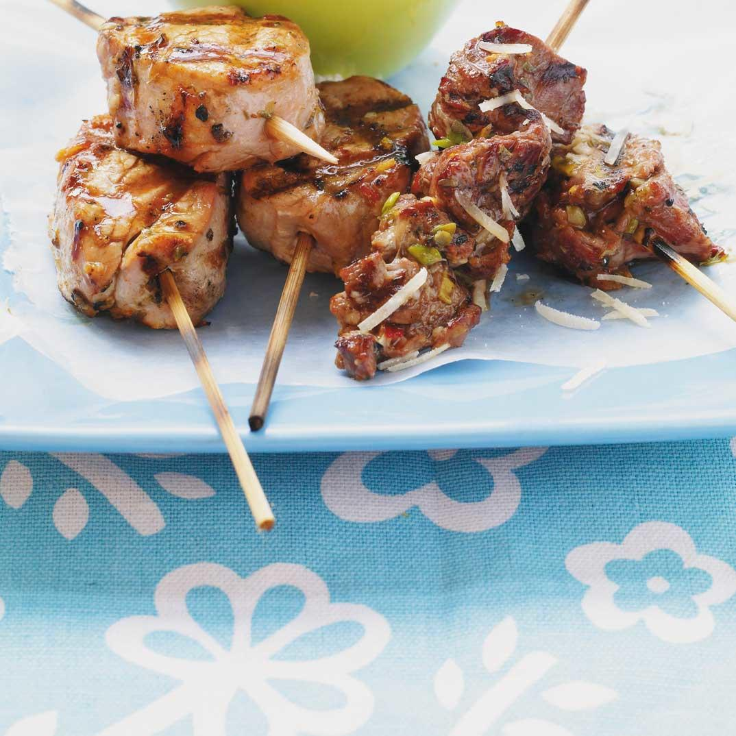 Beef Brochettes with Capers and Parmesan