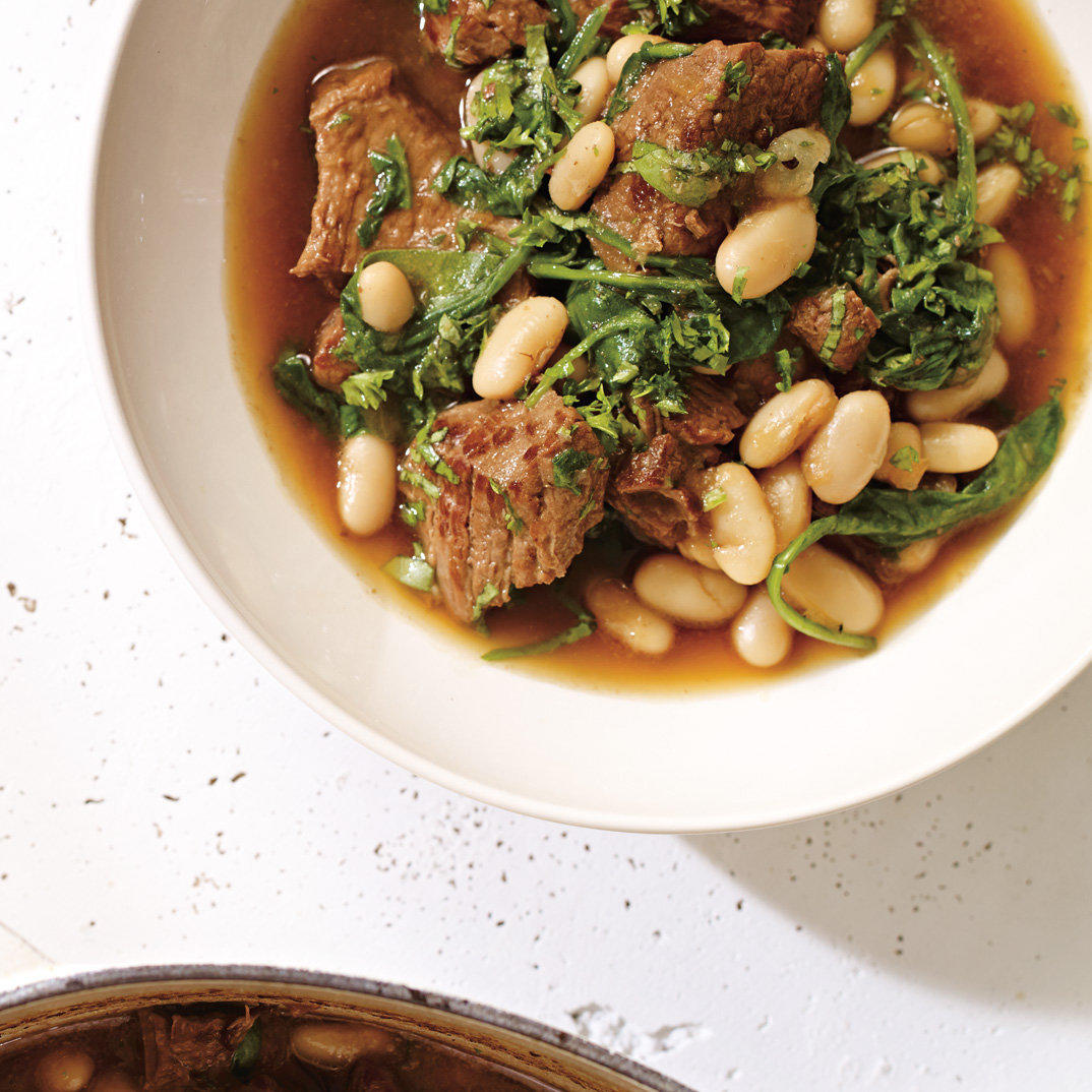Beef Stew with Spinach and White Beans