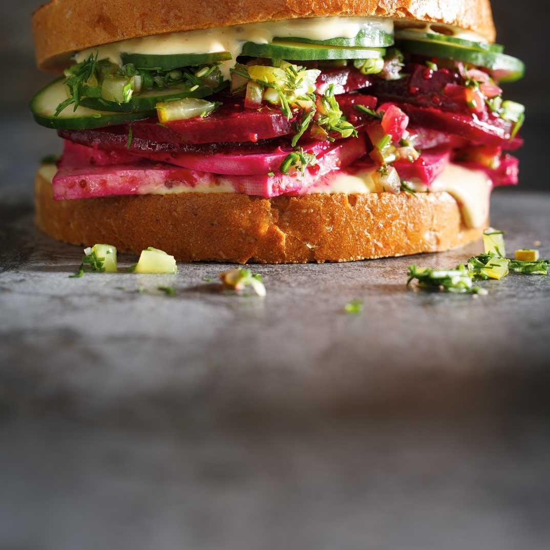 Beet and Tofu Deli Sandwich