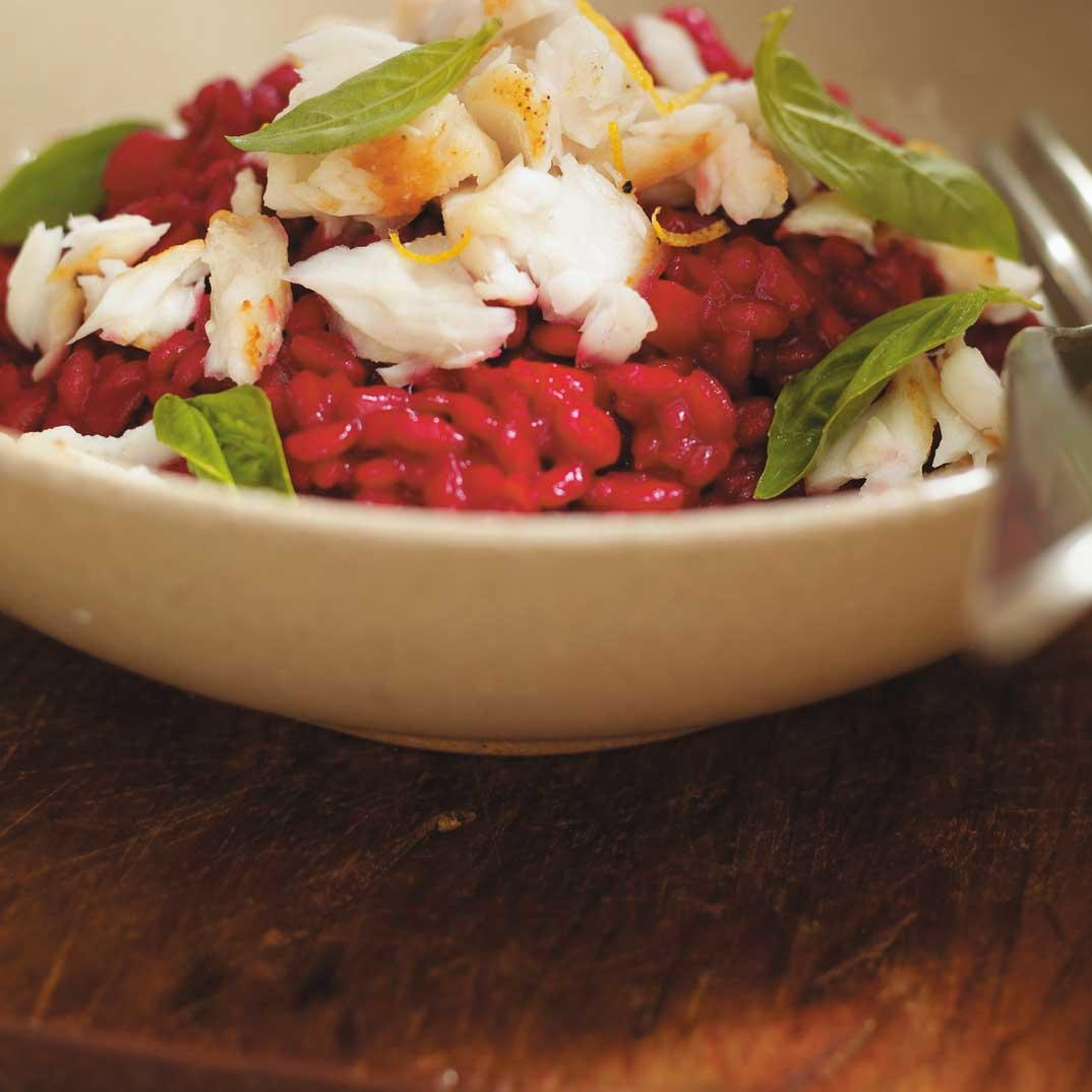 Beet Juice Risotto with Flaked Fish