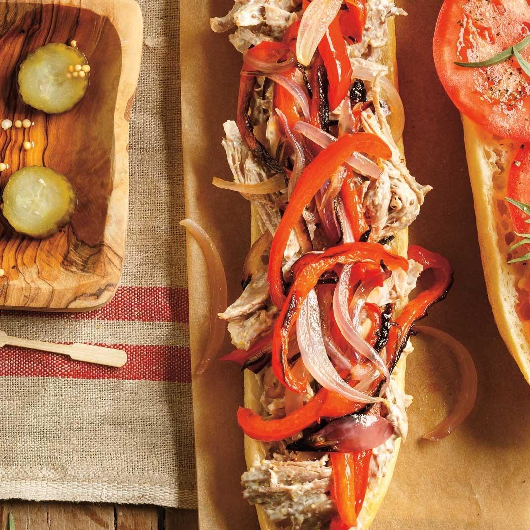 Bell Pepper and Duck Confit Sandwich