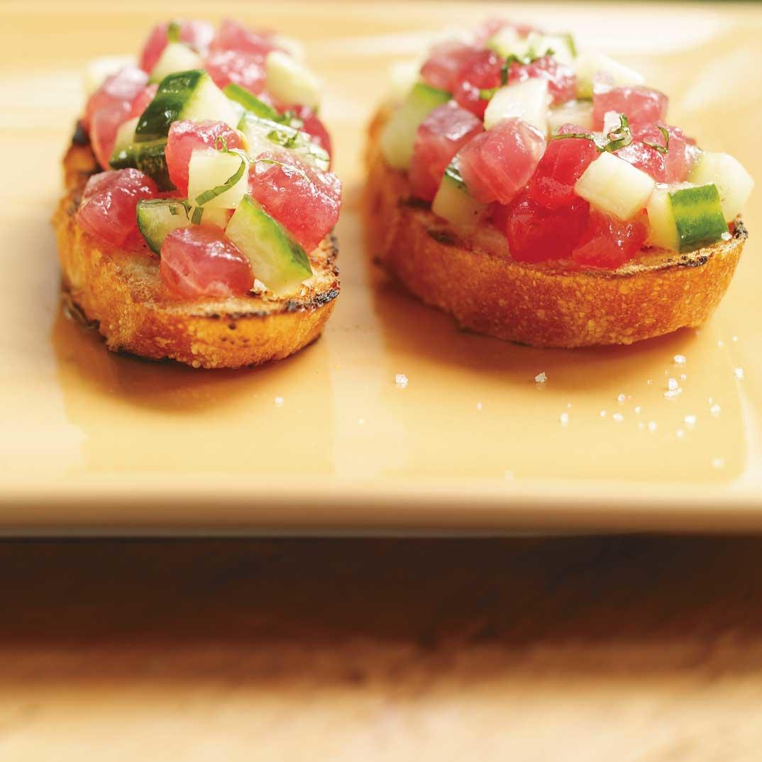 Bluefin Tuna and Cucumber Bruschetta