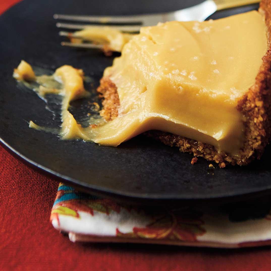 Bourbon Butterscotch Pie with Pecan Crust