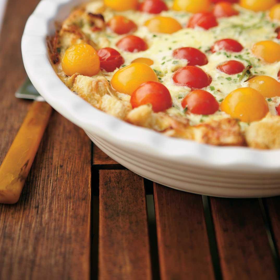 Cherry Tomato Bread-Crusted Quiche