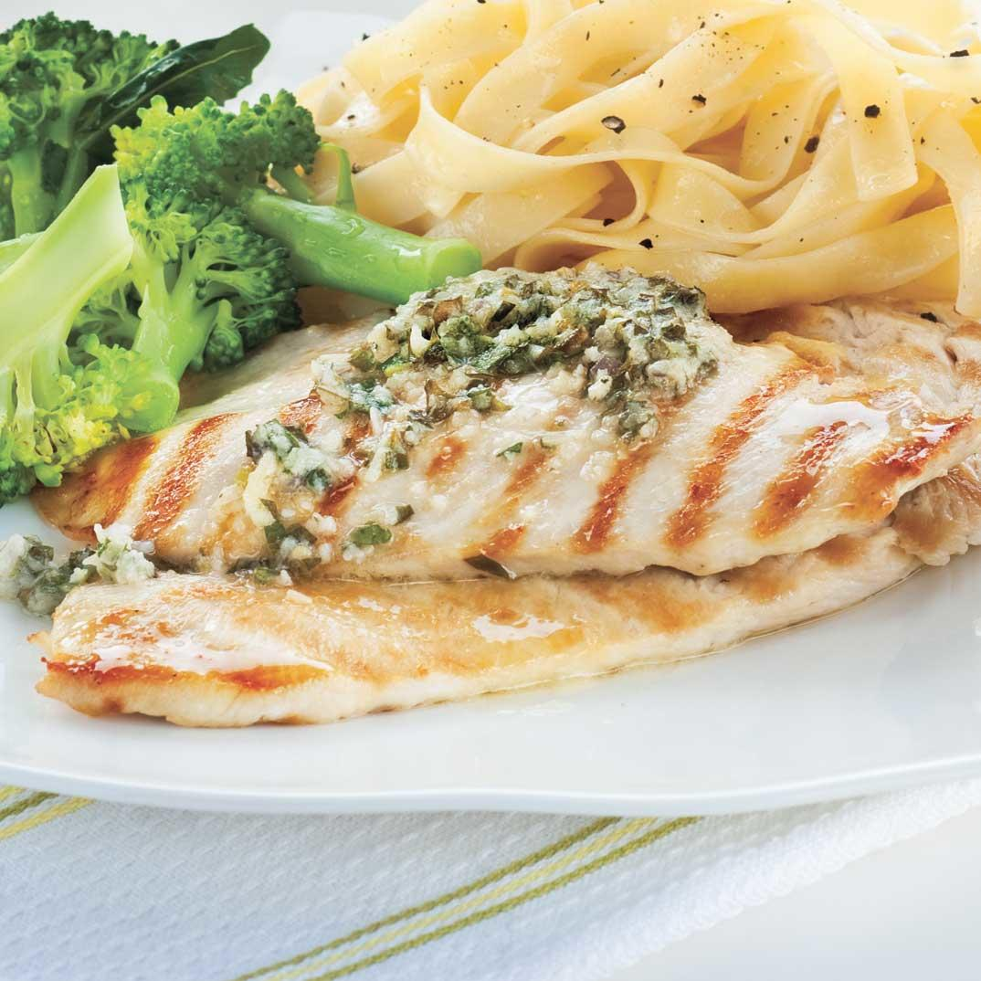 Chicken Cutlets with Sorrel Butter