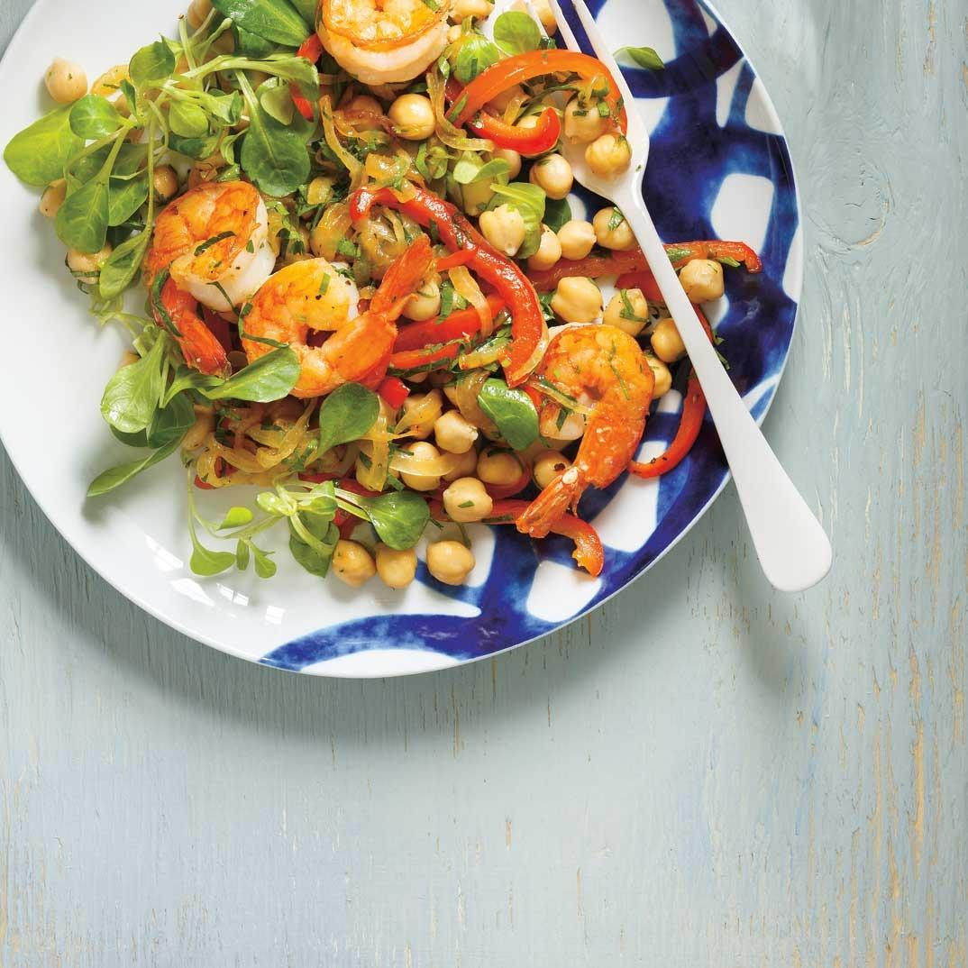 Chickpea, Shrimp, Bell Pepper and Parsley Salad