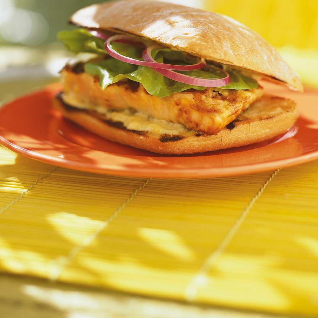 Ciabatta with Orange-Marinated Grilled Salmon