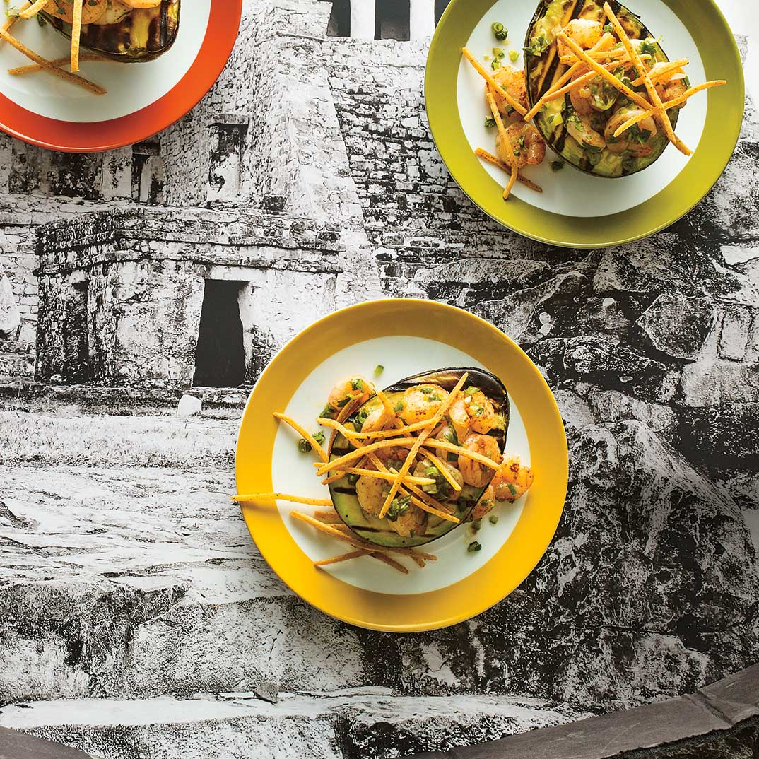 <i>Aguacate con Camarones y Tortillas Fritas </i> (Grilled Avocado with Shrimp and Crispy Tortilla Strips)