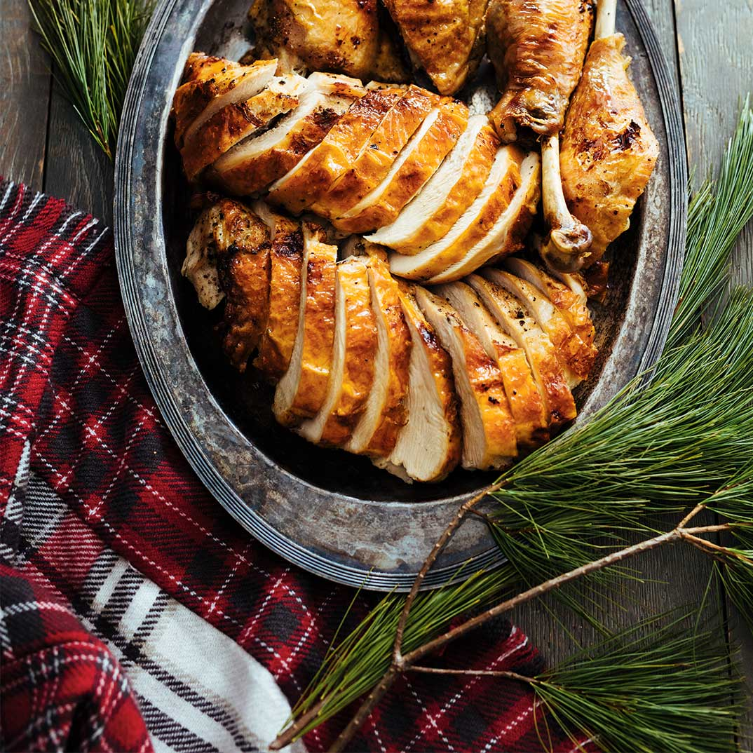 Roasted Turkey with Juniper and Pearl Onion Sauce