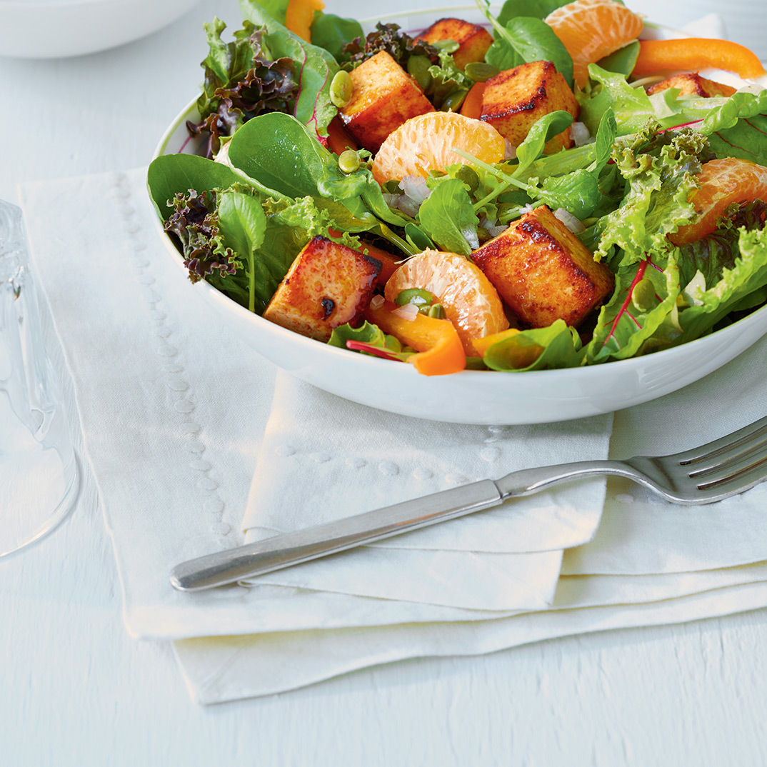 Spicy Tofu and Clementine Salad