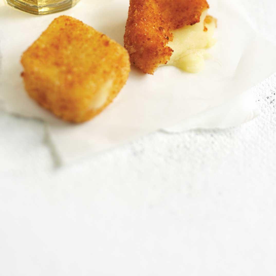 "Three Cheese ""Fondue Parmesan"" (Fried Cheese Squares)"